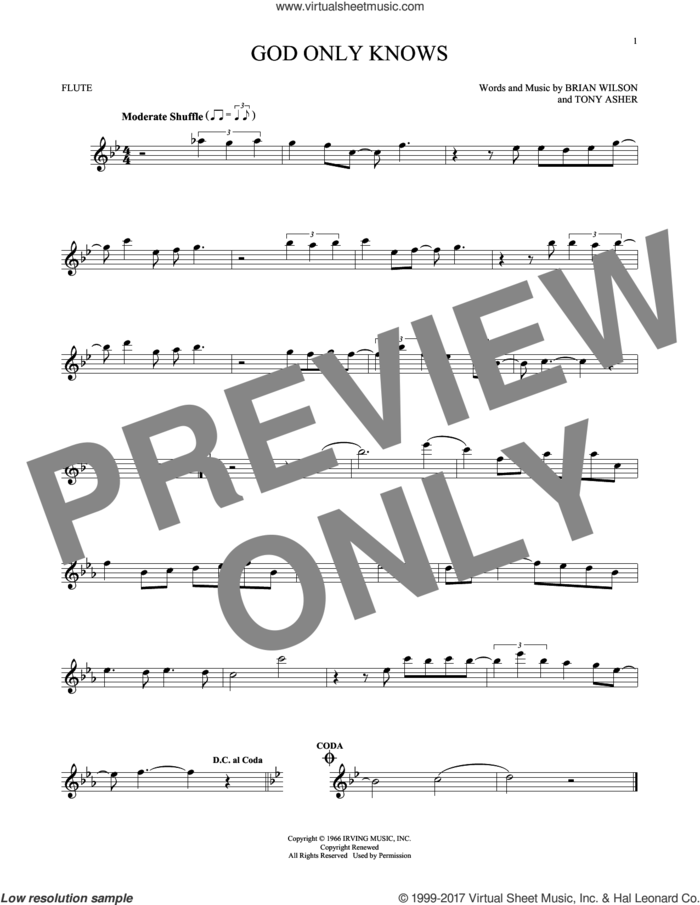 God Only Knows sheet music for flute solo by The Beach Boys, Brian Wilson and Tony Asher, intermediate skill level