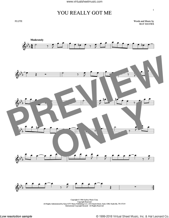 You Really Got Me sheet music for flute solo by The Kinks, Edward Van Halen and Ray Davies, intermediate skill level