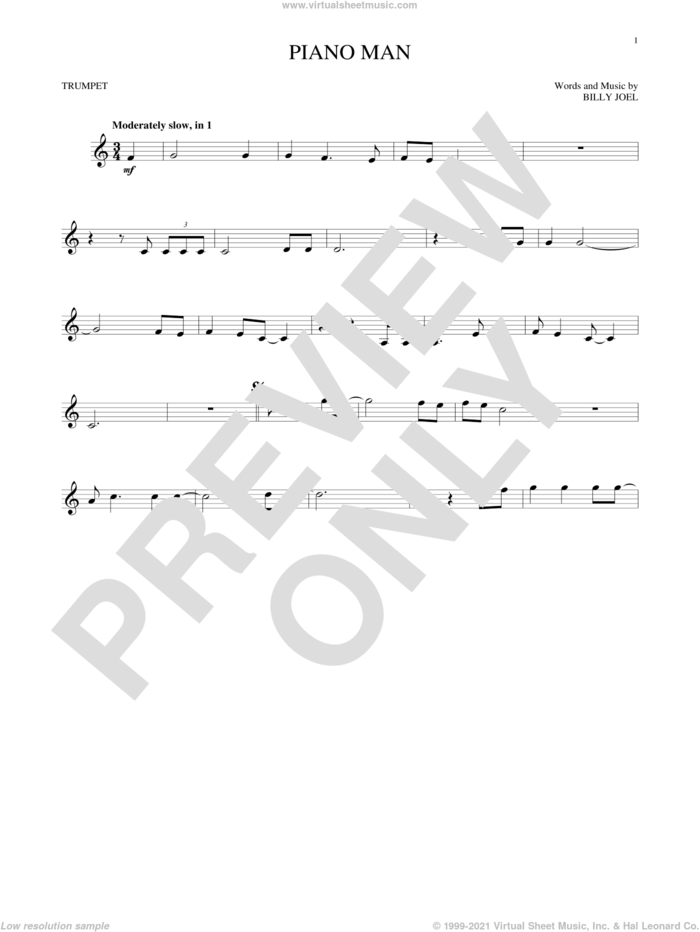 Piano Man sheet music for trumpet solo by Billy Joel, intermediate skill level