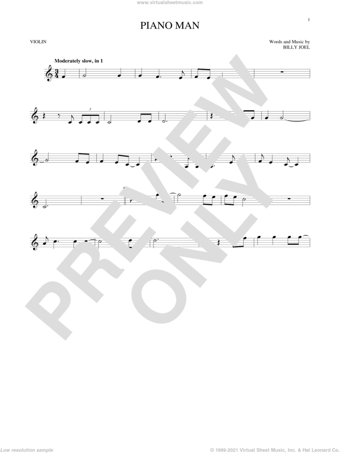 Piano Man sheet music for violin solo by Billy Joel, intermediate skill level