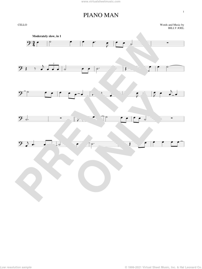 Piano Man sheet music for cello solo by Billy Joel, intermediate skill level