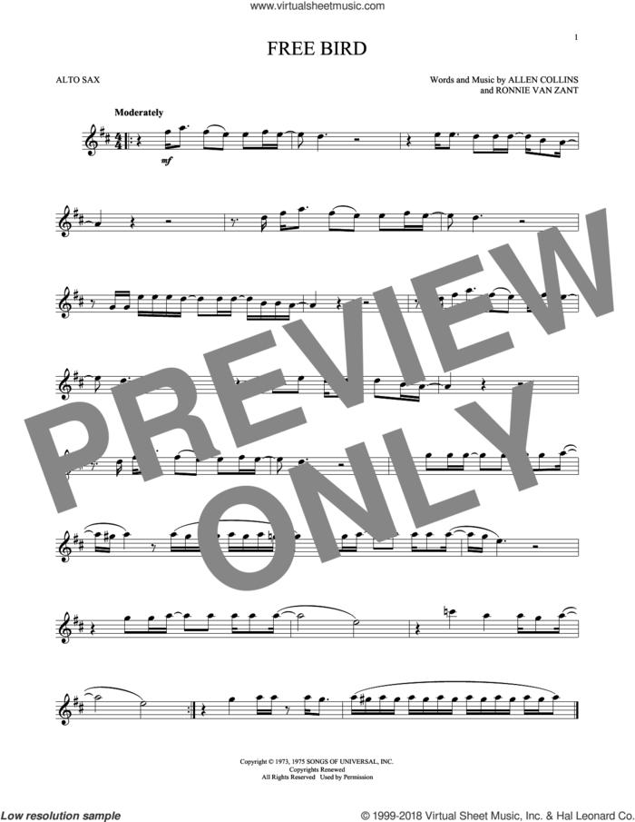Free Bird sheet music for alto saxophone solo by Lynyrd Skynyrd, Allen Collins and Ronnie Van Zant, intermediate skill level
