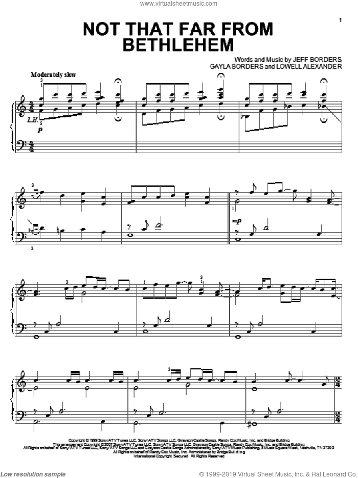 Not That Far From Bethlehem, (intermediate) sheet music for piano solo by Point Of Grace, Gayla Borders, Jeff Borders and Lowell Alexander, intermediate skill level