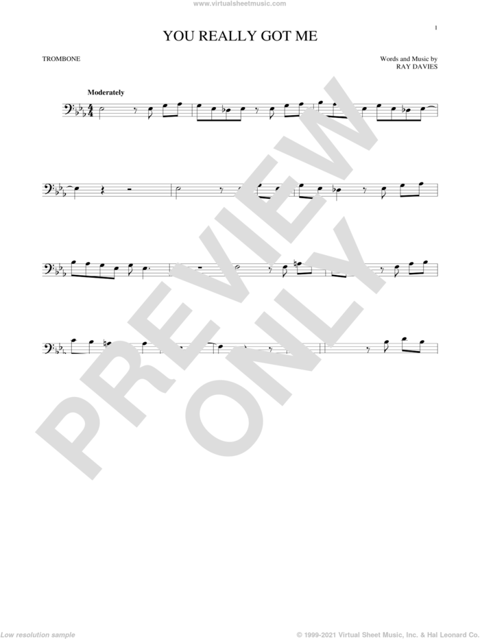 You Really Got Me sheet music for trombone solo by The Kinks, Edward Van Halen and Ray Davies, intermediate skill level