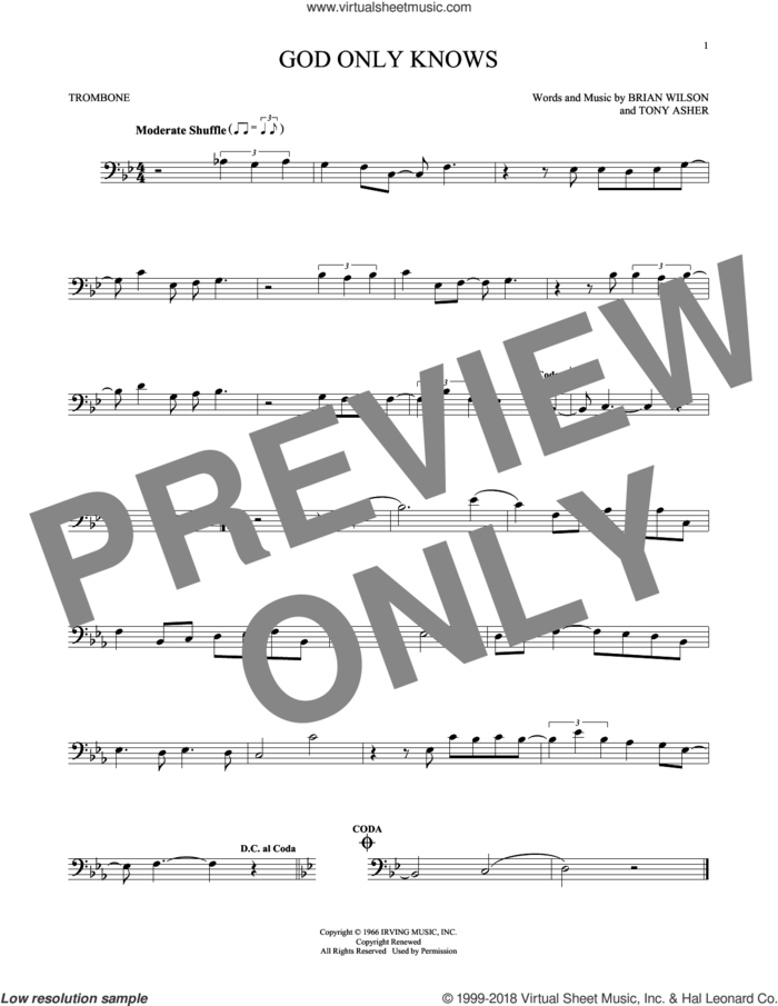 God Only Knows sheet music for trombone solo by The Beach Boys, Brian Wilson and Tony Asher, intermediate skill level