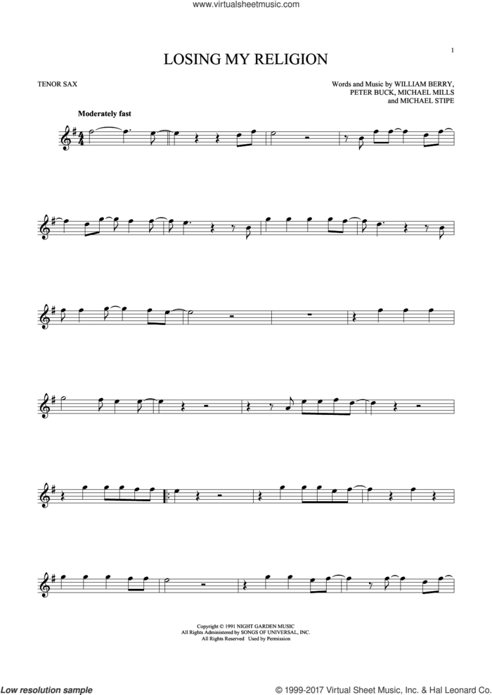 Losing My Religion sheet music for tenor saxophone solo by R.E.M., Michael Stipe, Mike Mills, Peter Buck and William Berry, intermediate skill level