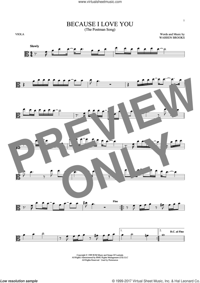Because I Love You (The Postman Song) sheet music for viola solo by Stevie B and Warren Brooks, intermediate skill level