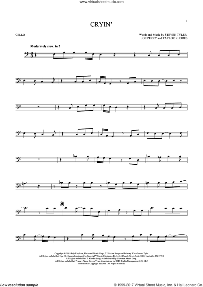 Cryin' sheet music for cello solo by Aerosmith, Joe Perry, Steven Tyler and Taylor Rhodes, intermediate skill level