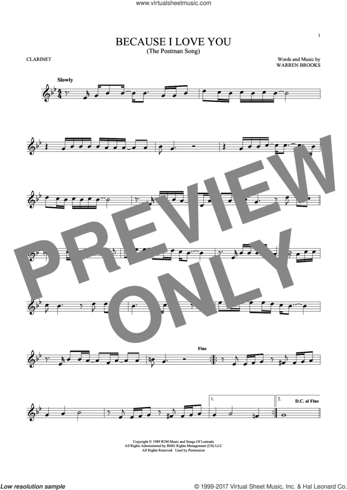 Because I Love You (The Postman Song) sheet music for clarinet solo by Stevie B and Warren Brooks, intermediate skill level
