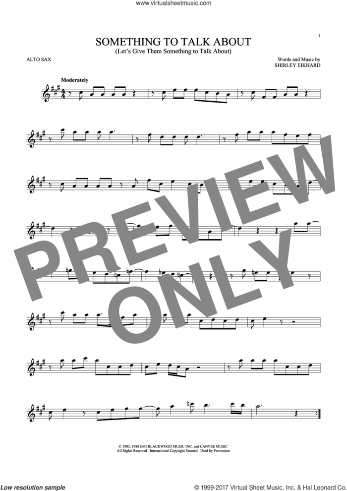Something To Talk About (Let's Give Them Something To Talk About) sheet music for alto saxophone solo by Bonnie Raitt and Shirley Eikhard, intermediate skill level