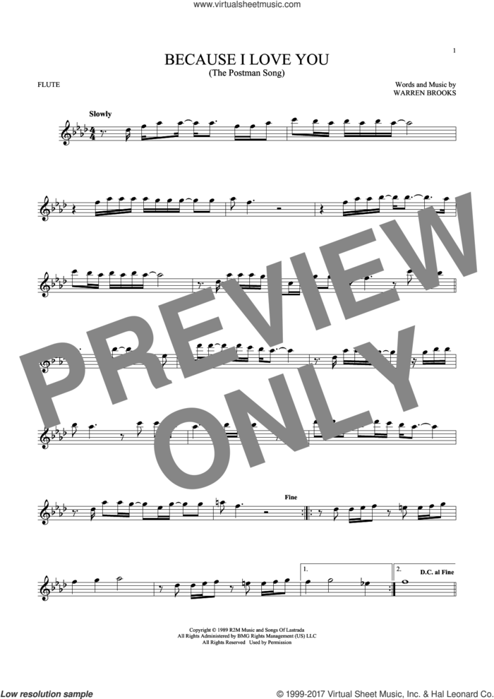 Because I Love You (The Postman Song) sheet music for flute solo by Stevie B and Warren Brooks, intermediate skill level
