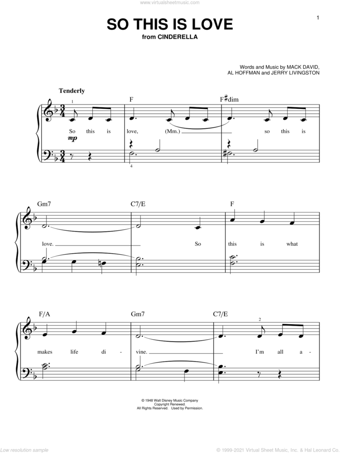 So This Is Love sheet music for piano solo by James Ingram, Al Hoffman, Jerry Livingston and Mack David, easy skill level