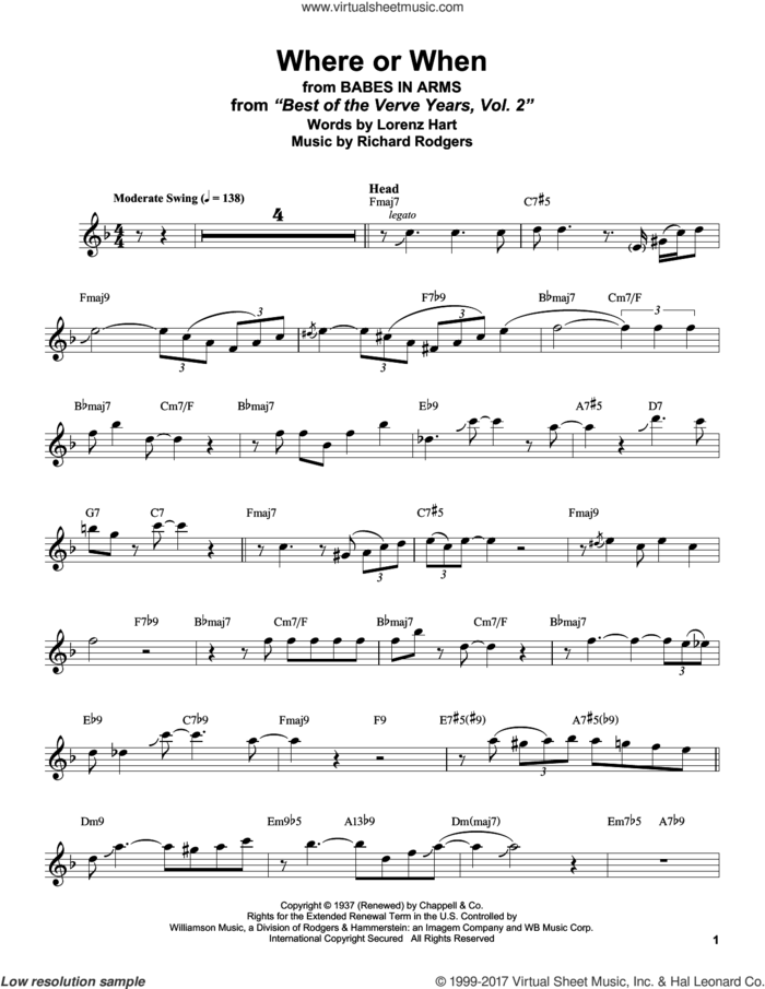 Where Or When sheet music for tenor saxophone solo (transcription) by Stan Getz, Dion & The Belmonts, Lorenz Hart and Richard Rodgers, intermediate tenor saxophone (transcription)