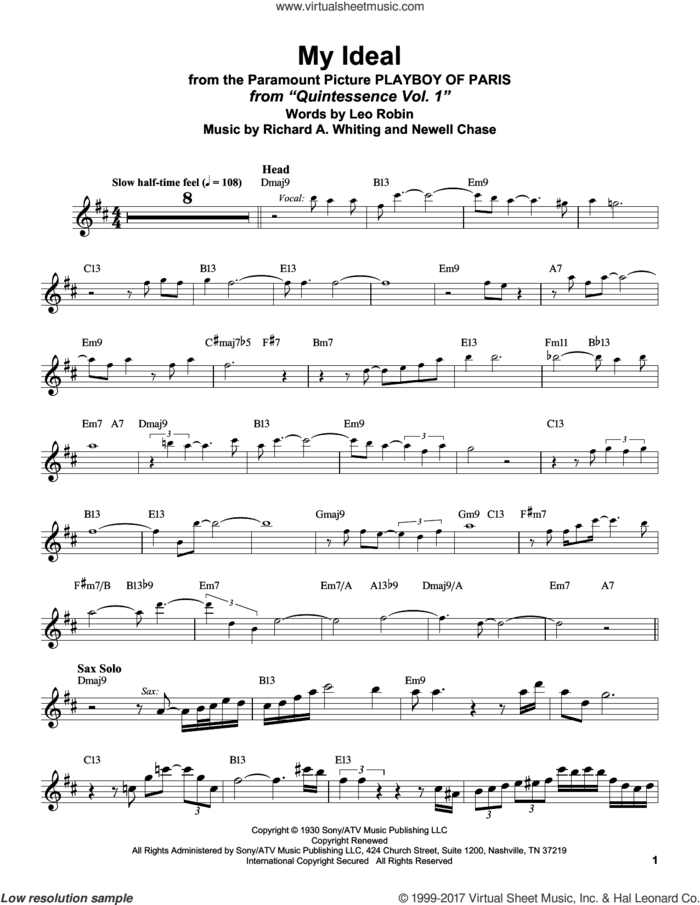 My Ideal sheet music for tenor saxophone solo (transcription) by Stan Getz, John Coltrane, Leo Robin, Newell Chase and Richard A. Whiting, intermediate tenor saxophone (transcription)