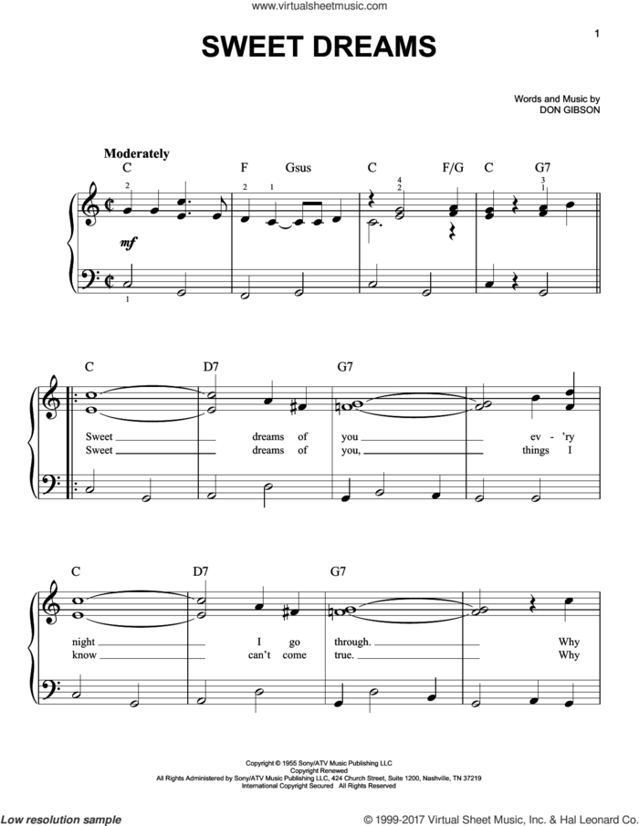 Sweet Dreams sheet music for piano solo by Patsy Cline, Emmylou Harris and Don Gibson, easy skill level