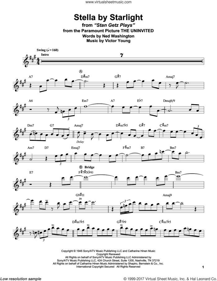 Stella By Starlight sheet music for tenor saxophone solo (transcription) by Stan Getz, Ray Charles, Ned Washington and Victor Young, intermediate tenor saxophone (transcription)