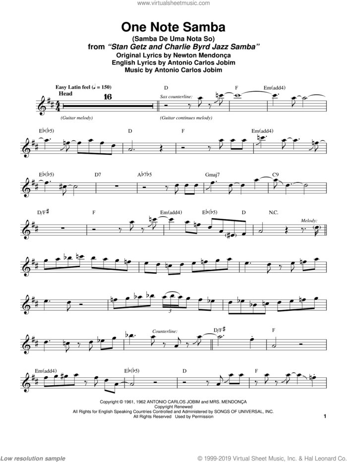 One Note Samba (Samba De Uma Nota So) sheet music for tenor saxophone solo (transcription) by Stan Getz, Pat Thomas, Antonio Carlos Jobim and Newton Mendonca, intermediate tenor saxophone (transcription)