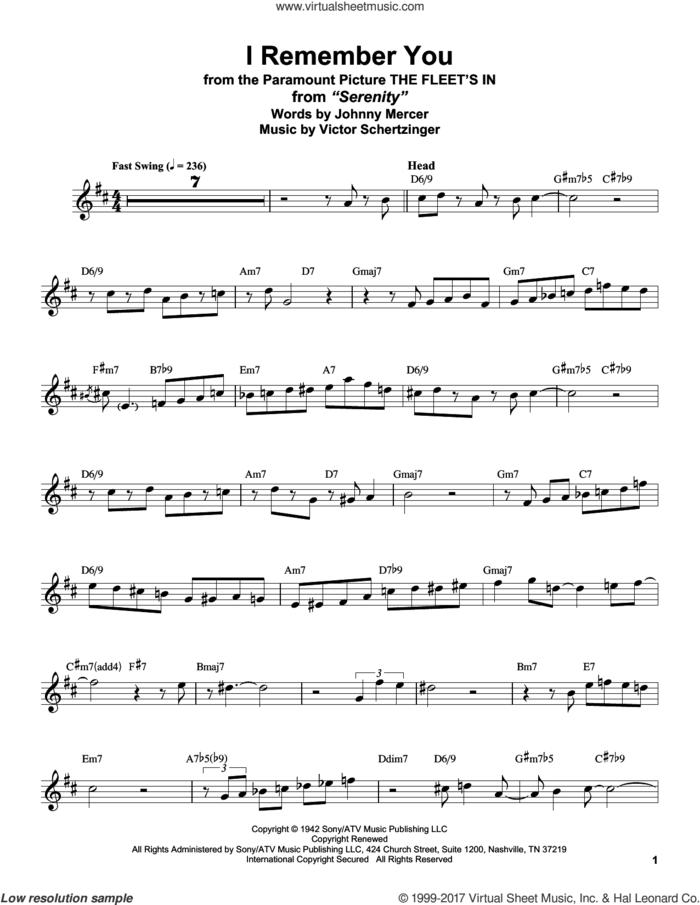 I Remember You sheet music for tenor saxophone solo (transcription) by Stan Getz, Jo Stafford, Johnny Mercer and Victor Schertzinger, intermediate tenor saxophone (transcription)