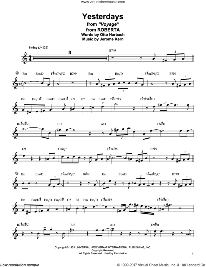 Yesterdays (from Roberta) sheet music for tenor saxophone solo (transcription) by Stan Getz, Jerome Kern and Otto Harbach, intermediate tenor saxophone (transcription)