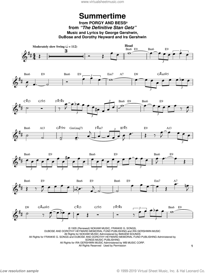 Summertime sheet music for tenor saxophone solo (transcription) by Stan Getz, Dorothy Heyward, DuBose Heyward, George Gershwin and Ira Gershwin, intermediate tenor saxophone (transcription)