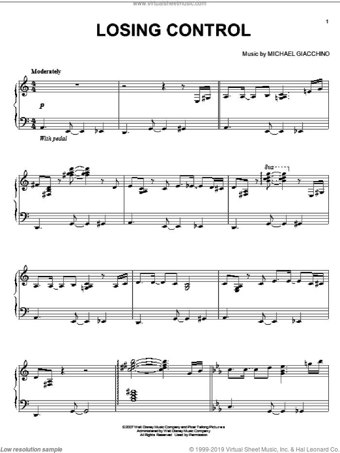 Losing Control sheet music for piano solo by Michael Giacchino and Ratatouille (Movie), intermediate skill level