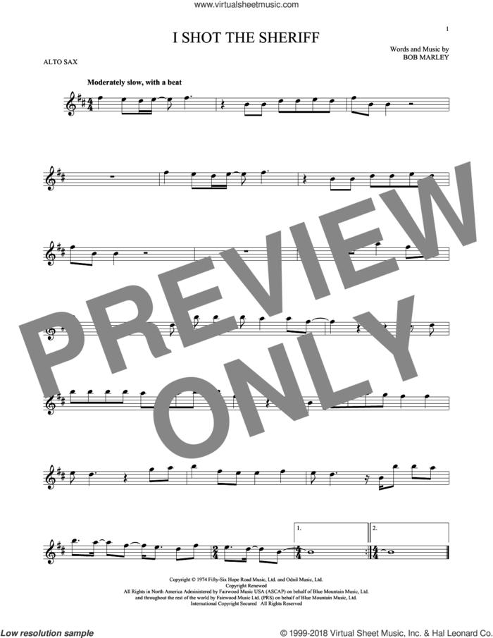 I Shot The Sheriff sheet music for alto saxophone solo by Bob Marley, Eric Clapton and Warren G, intermediate skill level