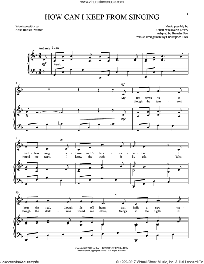 How Can I Keep From Singing sheet music for voice and piano by Robert Lowry, intermediate skill level