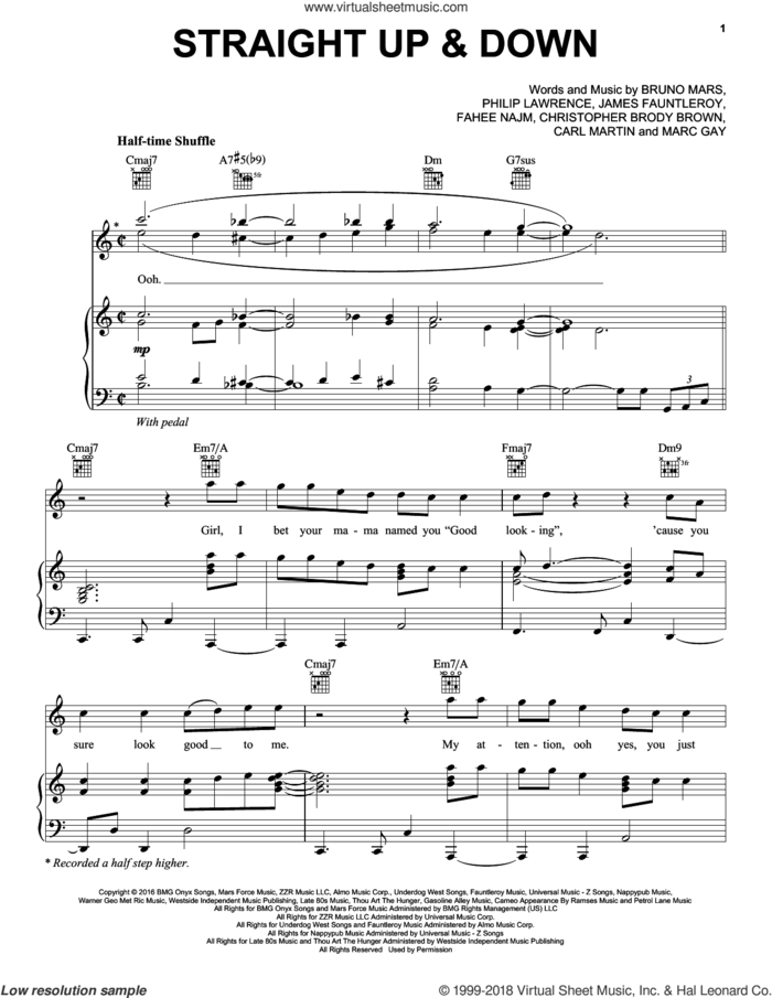 Straight Up and Down sheet music for voice, piano or guitar by Bruno Mars, Carl Martin, Christopher Brody Brown, Faheem Najm, James Fauntleroy, Marc Gay and Philip Lawrence, intermediate skill level