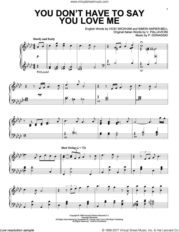 You Don't Have To Say You Love Me [Jazz version] sheet music for piano solo by Elvis Presley, P. Donaggio, Simon Napier-Bell, V. Pallavicini and Vicki Wickham, intermediate skill level