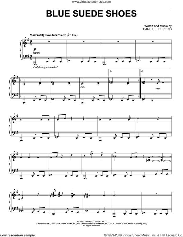Blue Suede Shoes [Jazz version] sheet music for piano solo by Elvis Presley and Carl Perkins, intermediate skill level