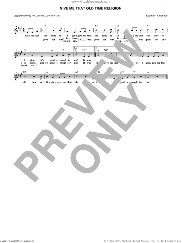 Give Me That Old Time Religion sheet music for voice and other instruments (fake book), intermediate skill level
