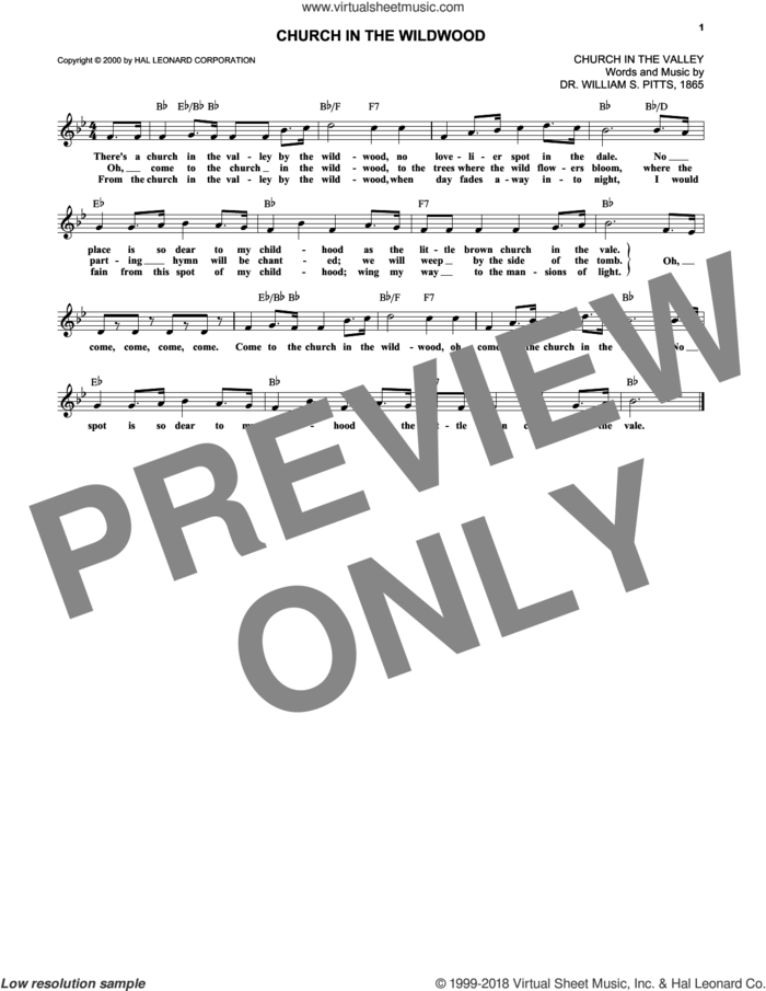 Church In The Wildwood sheet music for voice and other instruments (fake book) by Dr. William S. Pitts, intermediate skill level