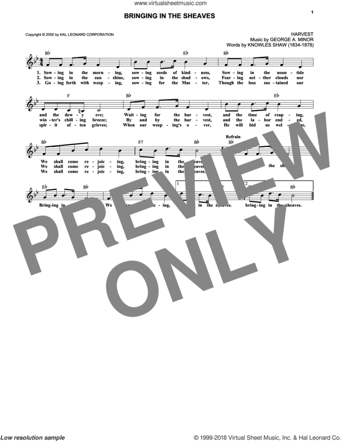 Bringing In The Sheaves sheet music for voice and other instruments (fake book) by Knowles Shaw and George A. Minor, intermediate skill level