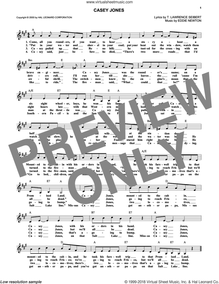 Casey Jones sheet music for voice and other instruments (fake book) by Eddie Newton and T. Lawrence Seibert, intermediate skill level