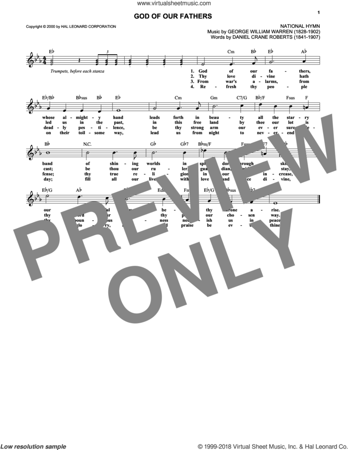 God Of Our Fathers sheet music for voice and other instruments (fake book) by George William Warren and Daniel Crane Roberts, intermediate skill level