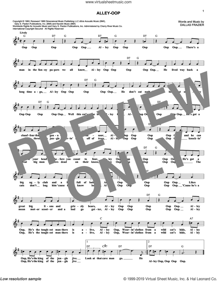 Alley-oop sheet music for voice and other instruments (fake book) by Dallas Frazier, Dyna-Sores and The Hollywood Argyles, intermediate skill level