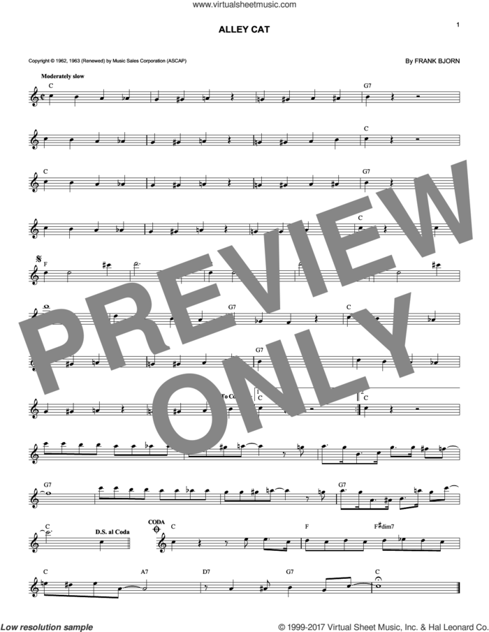 Alley Cat sheet music for voice and other instruments (fake book) by Bent Fabric and Frank Bjorn, intermediate skill level