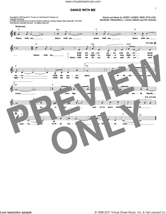 Dance With Me sheet music for voice and other instruments (fake book) by The Drifters, George Treadwell, Irv Nahan, Jerry Leiber, Louis Lebish and Mike Stoller, intermediate skill level