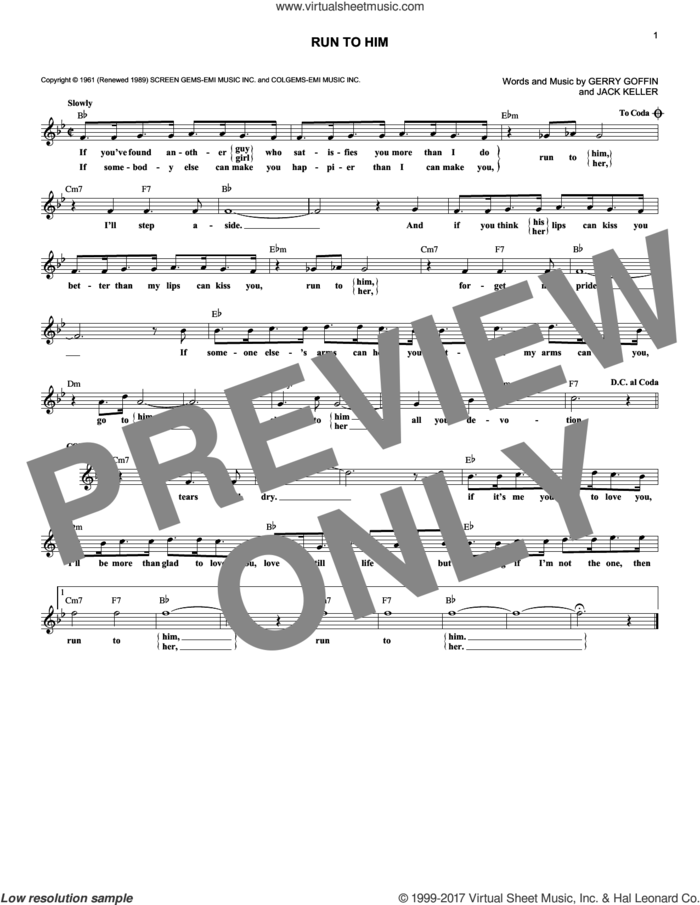 Run To Him sheet music for voice and other instruments (fake book) by Bobby Vee, Gerry Goffin and Jack Keller, intermediate skill level