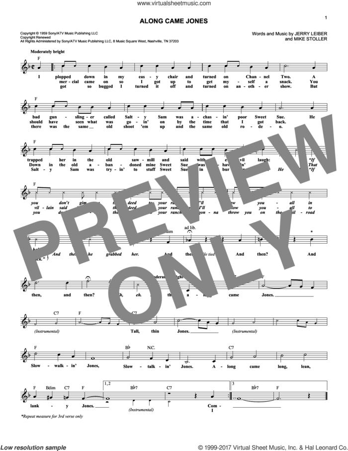 Along Came Jones sheet music for voice and other instruments (fake book) by The Coasters, Jerry Leiber and Mike Stoller, intermediate skill level