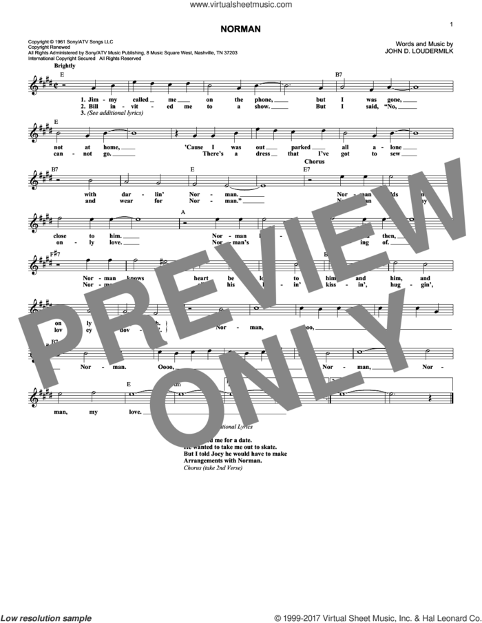 Norman sheet music for voice and other instruments (fake book) by Sue Thompson and John D. Loudermilk, intermediate skill level