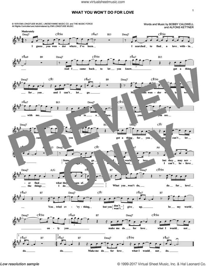 What You Won't Do For Love sheet music for voice and other instruments (fake book) by Alfons Kettner and Bobby Caldwell, wedding score, intermediate skill level