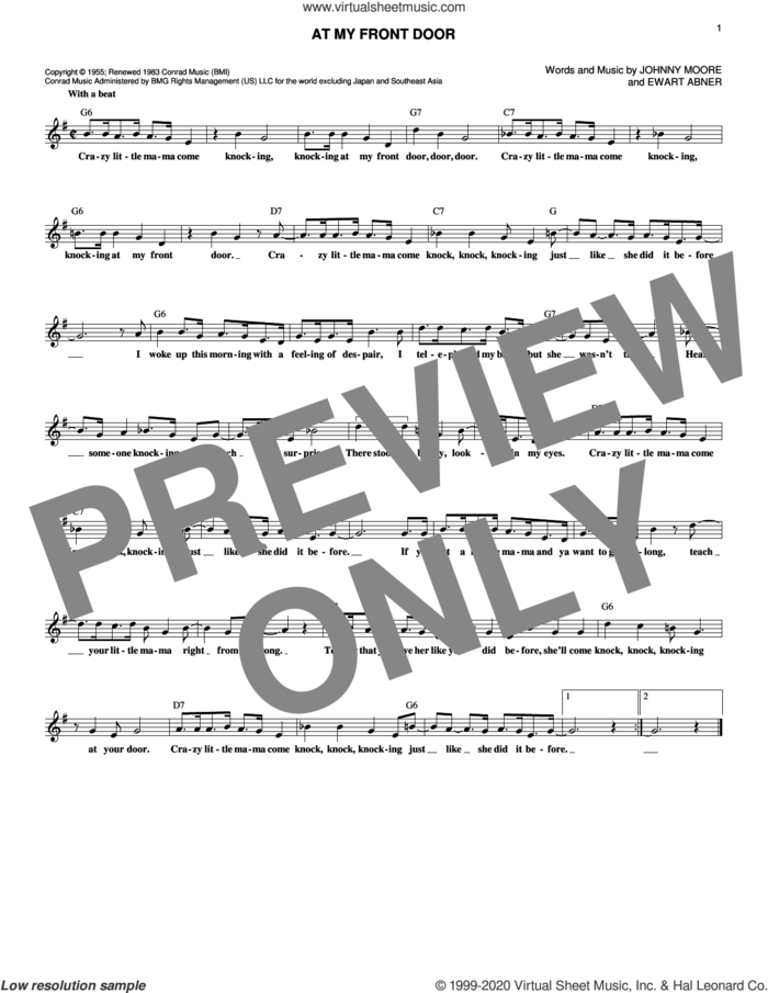 At My Front Door sheet music for voice and other instruments (fake book) by Pat Boone, Ewart G. Abner Jr. and John C. Moore, intermediate skill level