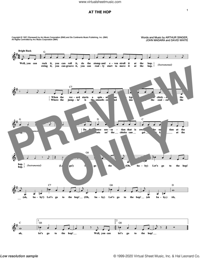 At The Hop sheet music for voice and other instruments (fake book) by Danny & The Juniors, Arthur Singer, David White and John Madara, intermediate skill level
