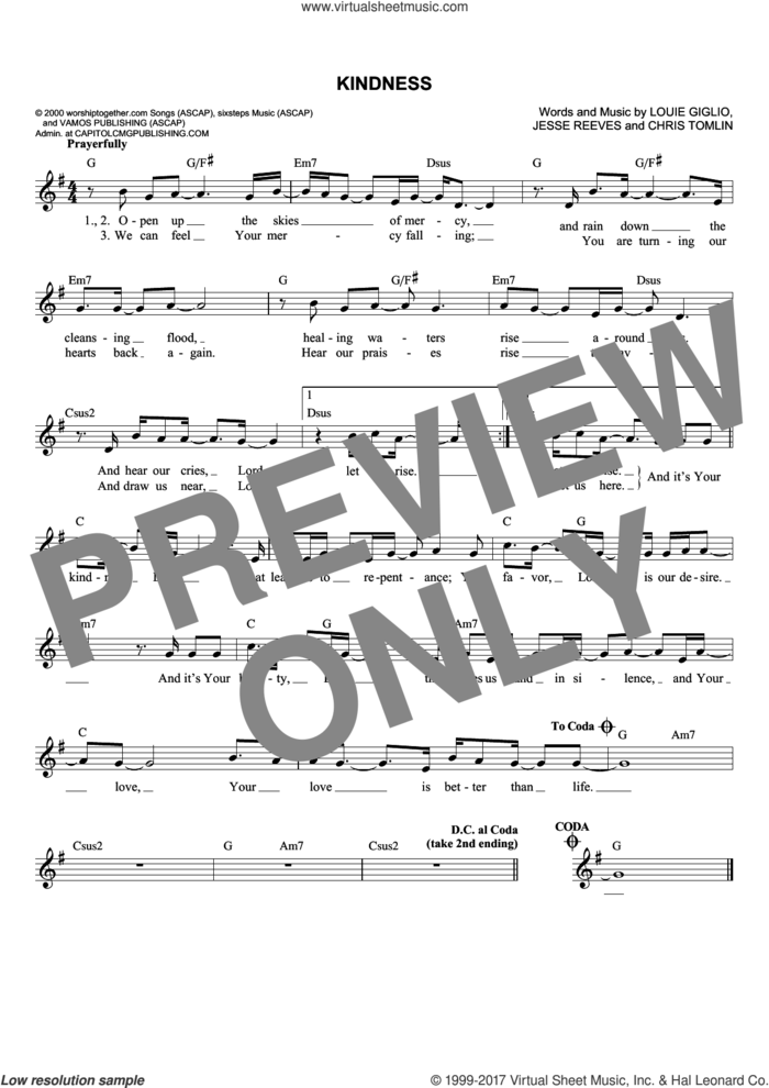 Kindness sheet music for voice and other instruments (fake book) by Chris Tomlin, Passion, Jesse Reeves and Louie Giglio, intermediate skill level