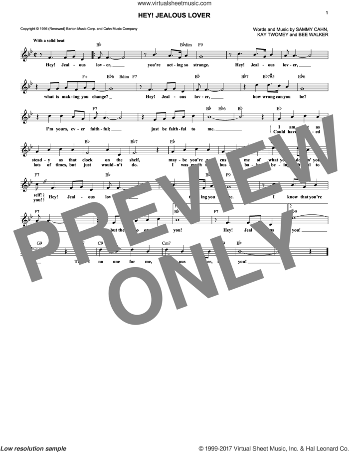 Hey! Jealous Lover sheet music for voice and other instruments (fake book) by Sammy Cahn, Bee Walker and Kay Twomey, intermediate skill level