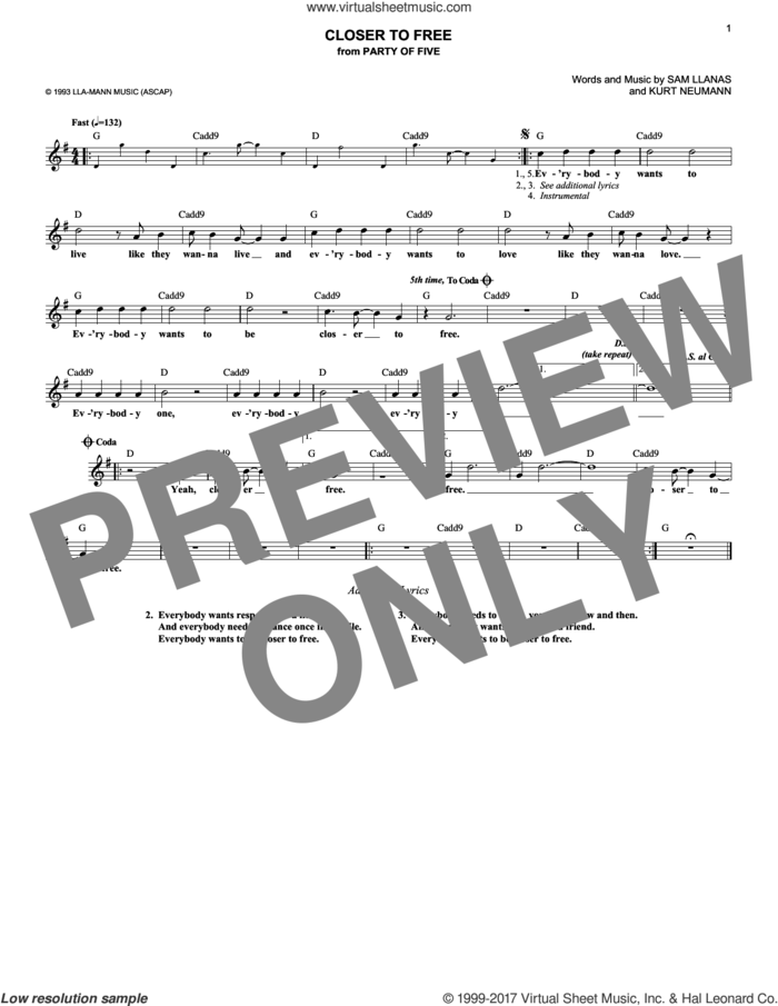 Closer To Free sheet music for voice and other instruments (fake book) by BoDeans, Kurt Neumann and Sam Llanas, intermediate skill level