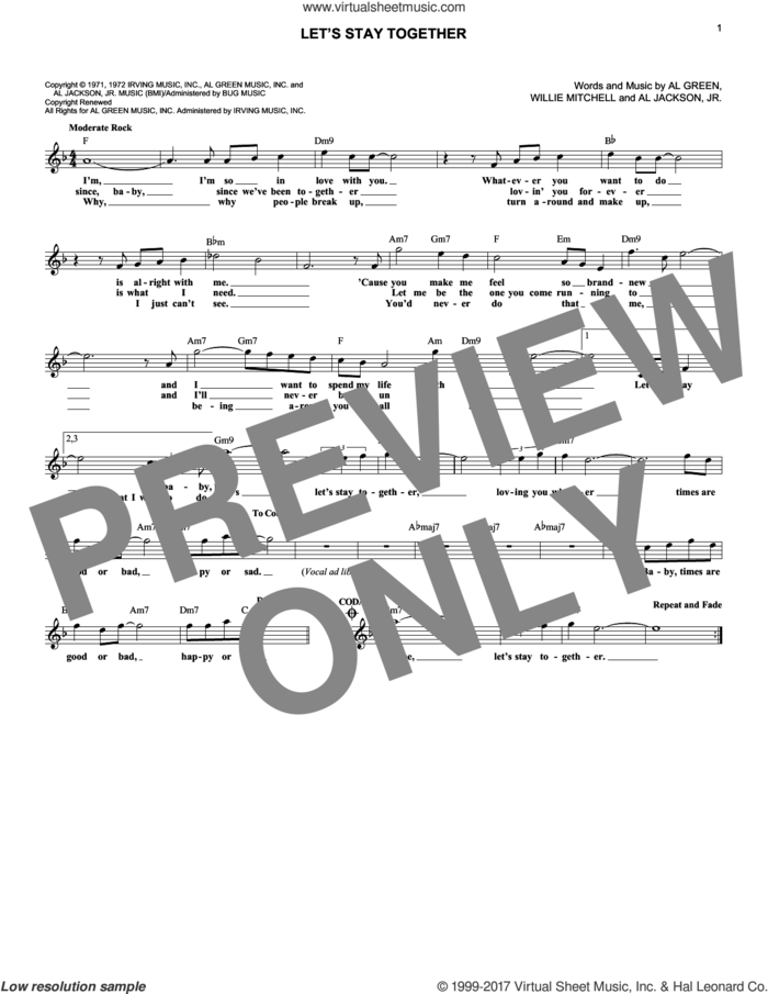 Let's Stay Together sheet music for voice and other instruments (fake book) by Al Green, Al Jackson, Jr. and Willie Mitchell, intermediate skill level