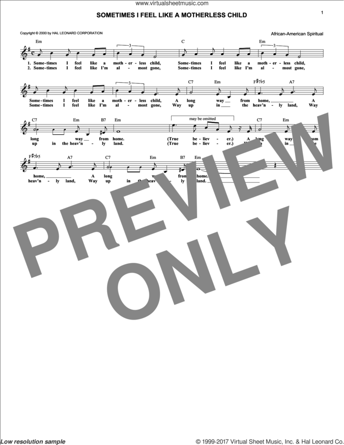 Sometimes I Feel Like A Motherless Child sheet music for voice and other instruments (fake book), intermediate skill level