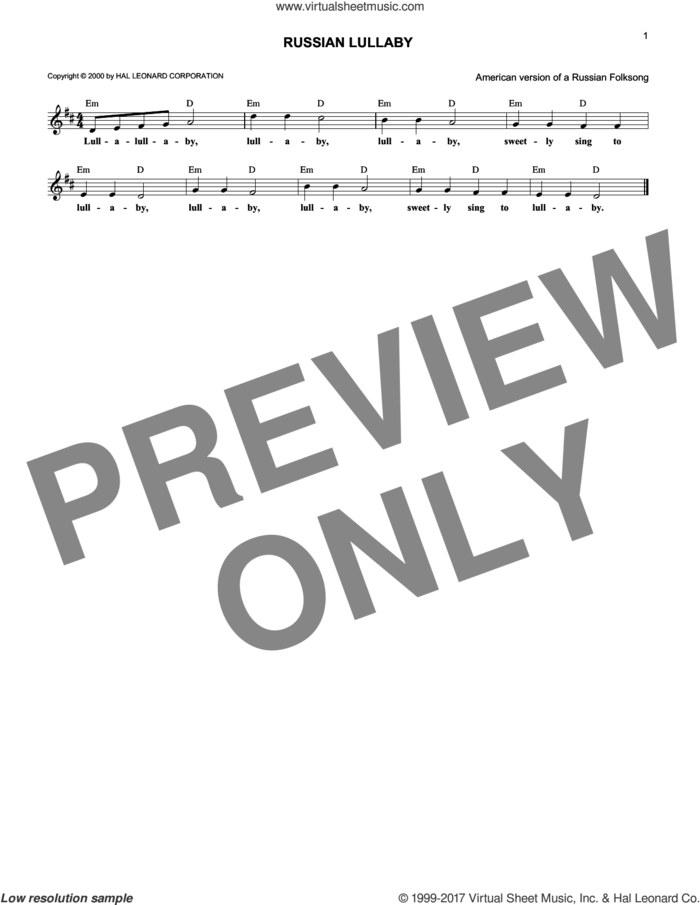 Russian Lullaby sheet music for voice and other instruments (fake book) by Folksong, intermediate skill level